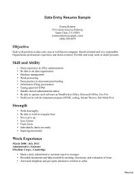 Typing Speed On Resume Data Entry Administrator Sample Resumer Cover