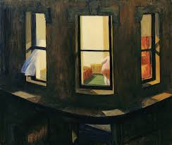 this almost istic painting of an outside view into a very well lit apartment with the rear of a lady in red was a great example of hopper s work with