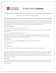 Nursing Graduate Resume Writing Your Resume Pre Nursing Students