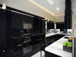 Of White Kitchens With Dark Floors Modern Kitchen In Black And White
