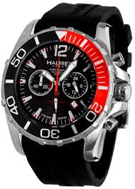 haurex mens 3a354unr caimano 2 chronograph watch men s watches haurex mens 3a354unr caimano 2 chronograph black dial red accents divers watch