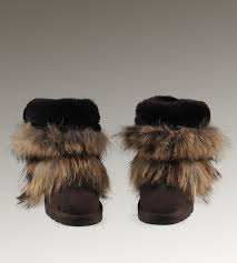 ... UGG Fox Fur Short Boots 5825 Black Classical ...