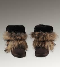 ... UGG Fox Fur Short Boots 5825 Black Classical ...