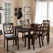 7 piece black dining room set. Baxton Studio Mozaika 7-Piece Dark Brown Faux Leather Upholstered Dining Set 7 Piece Black Room T