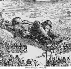 Image result for gulliver's travels wood cut