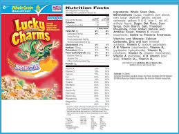 9 Best Photos Of Lucky Charms Cereal Food Label On Lucky