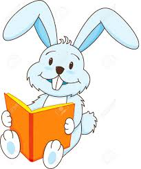 a rabbit smiling and reading book stock vector 4537335