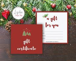 Printable Christmas Card Templates Best Printable Christmas Tree Watercolor Gift Certificate Template Etsy