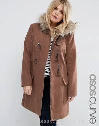 women s jackets coats asos curve wool blend faux fur hooded duffle coat 221024