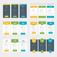 Pricing Table Templates Set Of Pricing Table Design Templates For Websites And Applications