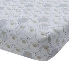 lambs ivy signature goodnight sheep fitted crib sheet gray white com
