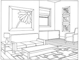 One Point Perspective Drawing Living Room On