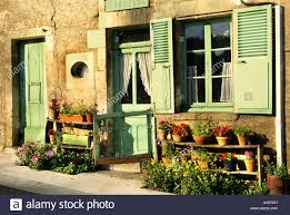 Grüne Farbe Fenster Tür Frankreich Französisch Haus Burgund