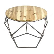 round metal accent table wood top