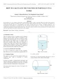 Pdf How To Calculate The Volumes Of Partially Full Tanks