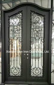 china residential metal doors with tempered glass wrought iron front doors china exterior door steel door