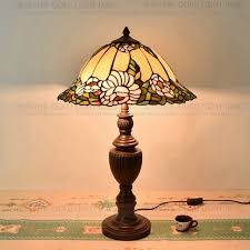 40cm flowers table lamp country style stained glass lamp for bedroom bedside lamp e27 110