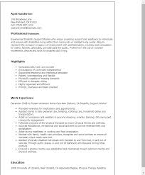 Resume Templates: Disability Support Worker