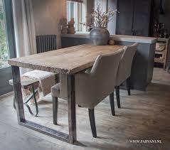 Tafel Oud Hout Metalen Frame Stoelen Dmf Parvani