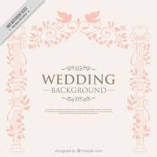 Hand Drawn Elegant Decoration With Birds Wedding Background Vector
