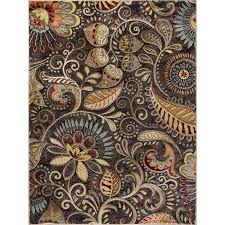 cpr1010 8x10 8 x 10 large red mocha brown and gold area rug
