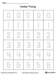 Small Picture Tracing Numbers 0 Through 9 Number tracing Numbers and Learning