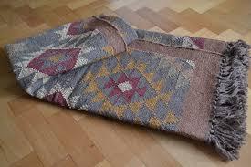 cotton wool jute kilim diamond rug