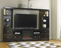 Large Black Tv Stand Shay Large Entertainment Unit With Tv Stand W Fireplace Insert