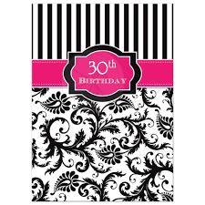 30th Birthday Invitation Hot Pink Black White Stripes Floral Damask
