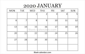 Blank Printable January Calendar 2020 2020 Calendar July