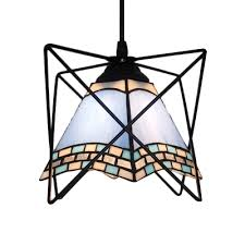 geometric shade hanging lamp vintage stained glass pendant light in blue with iron frame