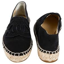 chanel espadrilles in blue and black canvas size 37fr for