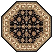kas rugs traditional kashan black 8 ft x 8 ft octagon area rug