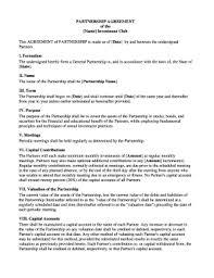 Sample Partnership Agreement Form 22 Printable General Partnership Agreement Forms And