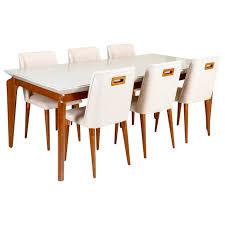 Quanto à largura das mesas retangulares, a medida mínima é de 85cm (lembram do jogo americano?). Conjunto Sala De Jantar Mesa Lauren E 6 Cadeiras Thyara Castro Moveis Fabricacao Propria