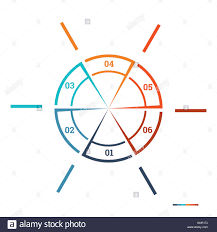 6 Piece Pie Chart Template Infographic Pie Chart Template Colourful Circle From Lines