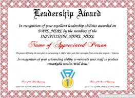 Free Award Certificate Templates For Students Leadership Award Template For Employees Or Students Free