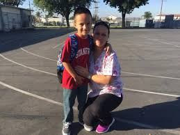 Alma Falcon drops off her third grade son  Daniel  at Fourth Street Elementary Los Angeles Times