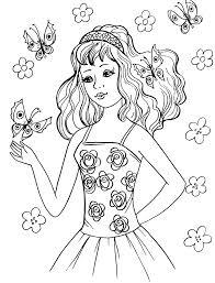 ちょうちょと女の子 昭和レトロな塗り絵 昭和レトロなおしゃれぬり絵