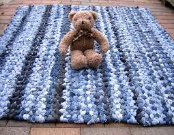 recycled blue jeans made into braided kids rug