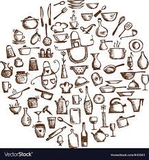 kitchen utensils vector. Kitchen Utensils Sketch Drawing Vector Image