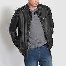 faux leather biker style blouson jacket black castaluna for men