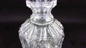 vintage etched cut glass diamond design wine whiskey decanter carafe liquor