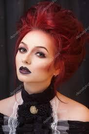 Sexy žena S Gotickými Make Up A Zrzavé Vlasy Stock Fotografie