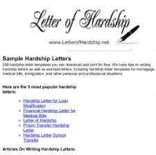 examples of hardship hardship letter examples