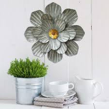 metal galvanized flower wall decor
