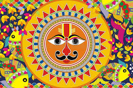 indian folk painting madhubani painting sun stock ilration ilration of decorative