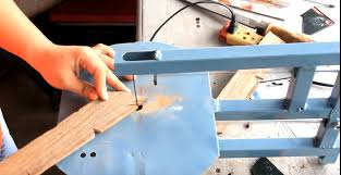 coping saw use. this saw allows more delicacy than a powered jigsaw, but it is easier to use coping saw.