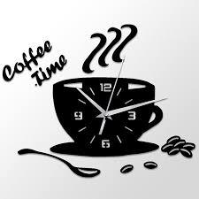 3d diy coffee time clock acrylic wall