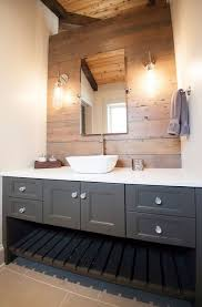 country themed reclaimed wood bathroom storage: gray bathroom vanity reclaimed wood accent wall country bathroom lucy and company
